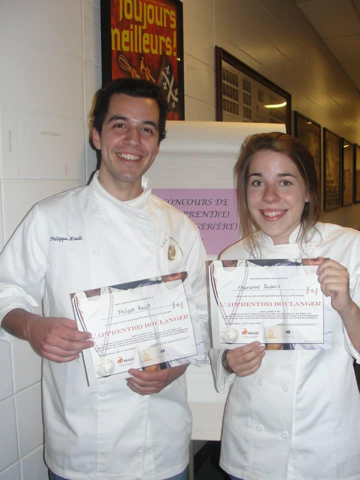 Philippe Nault et Fleuranne Dupuis du CFP Jacques Rousseau, gagnants du concours L'Apprenti(e) boulanger 2013.
