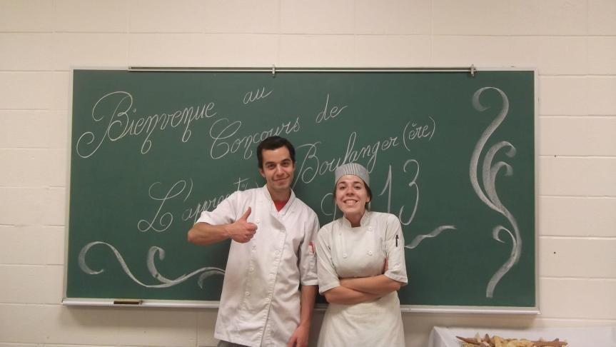 Philippe et Fleuranne qui représentent le CFP Jacques Rousseau et gagnants de l'édition 2013 de l'Apprenti boulanger(e).