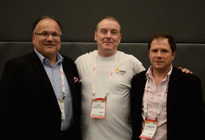 Les organisateurs, de gauche à droite: Paul Hetherington, PDG - Association canadienne de la boulangerie; Guy Bonraisin, propriétaire Le Petit Breton et président ABAQC; Dominique Gauvrit membre fondateur ABAQC